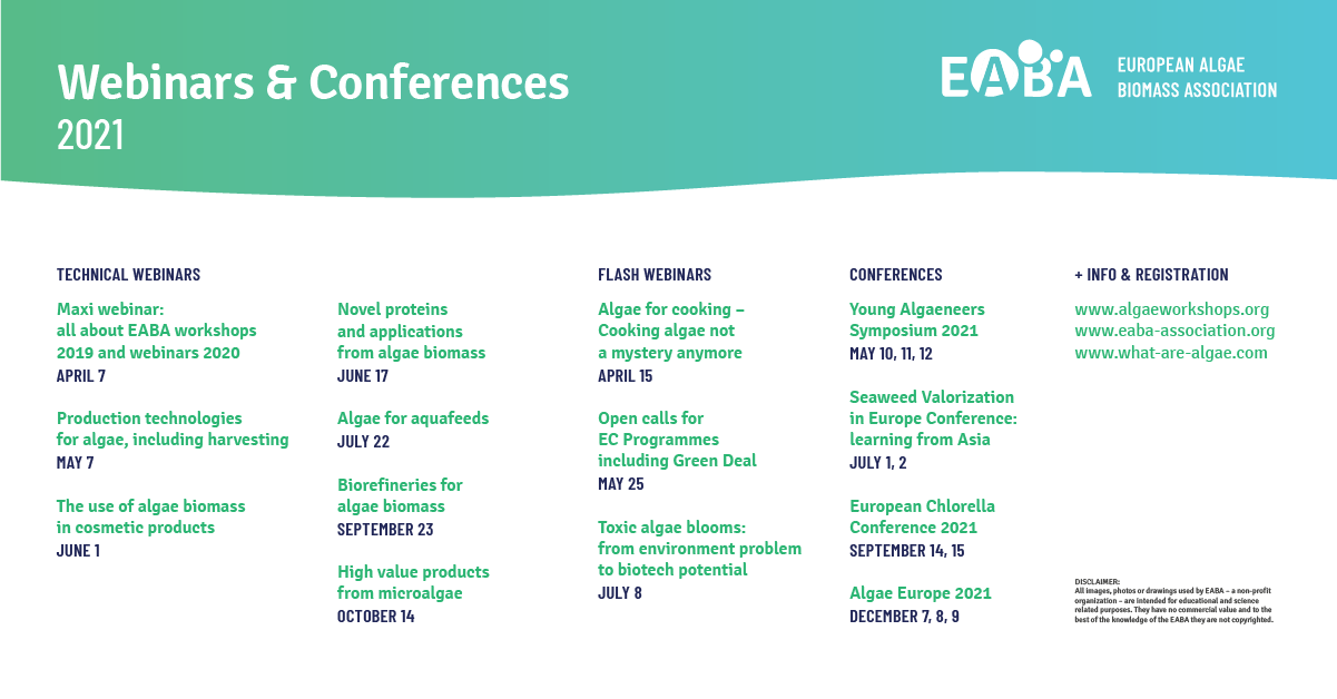 EABA algae webinars and Conferences 2021