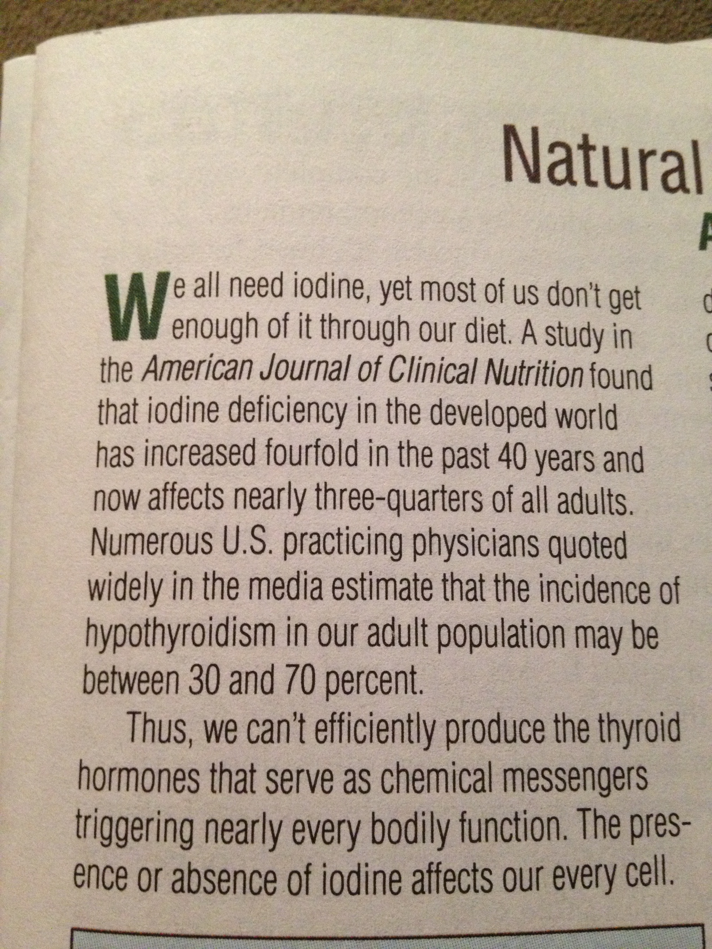 American Journal of Clinical Nutrition over jodium(tekort)